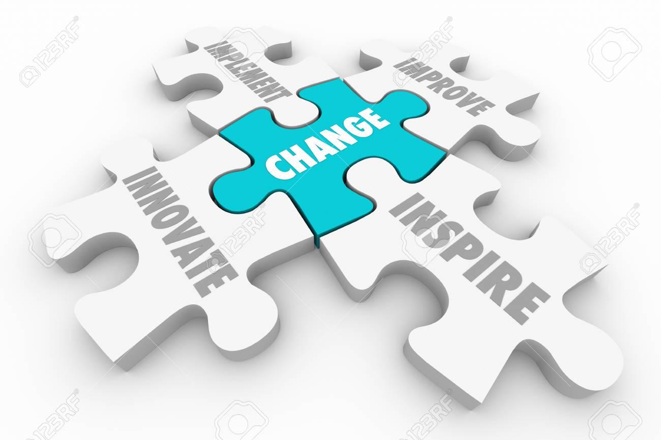 Change Innovate Improve Implement Puzzle Pieces 3d Illustration - 88277749