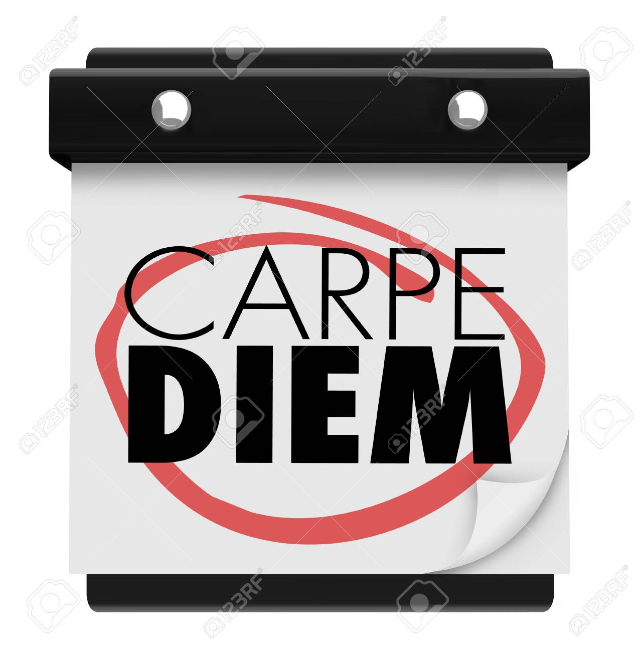 Carpe Diem Sieze The Day Wall Calendar Page 3d Illustration Stock