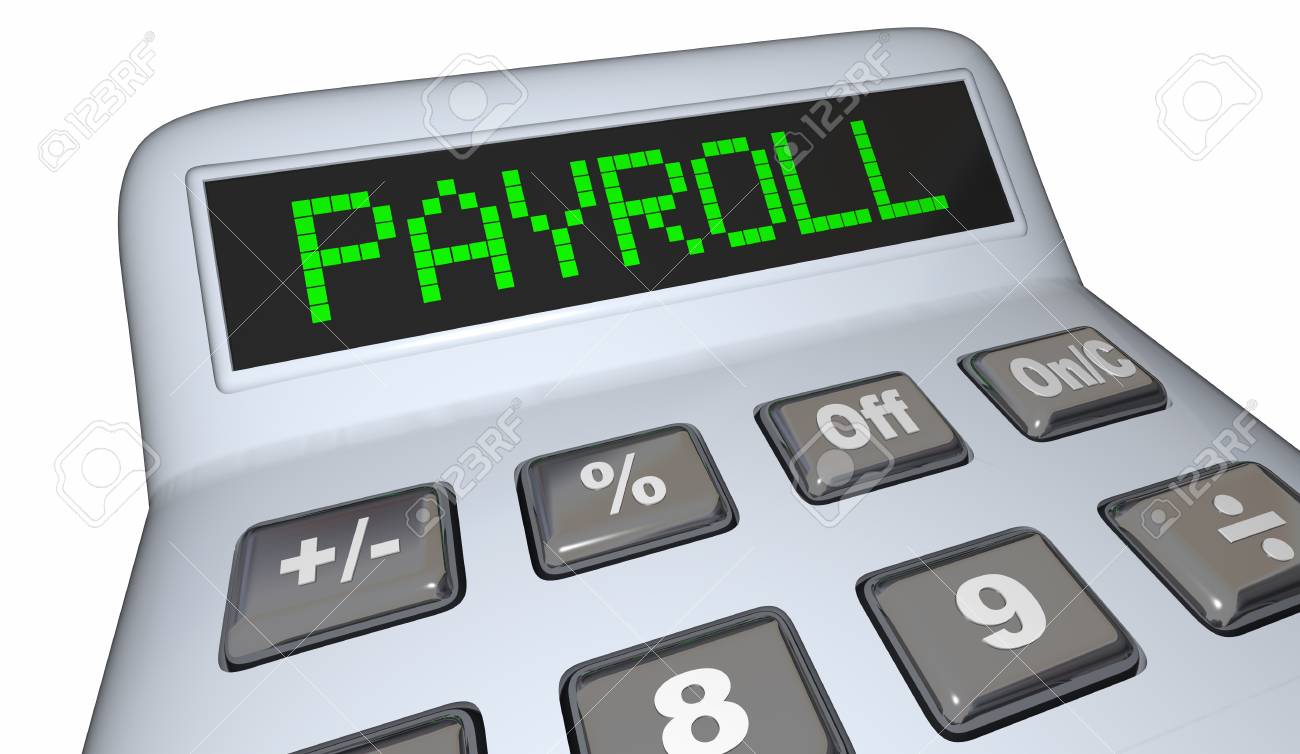 payroll calculator staff employees salary 3d illustration stock