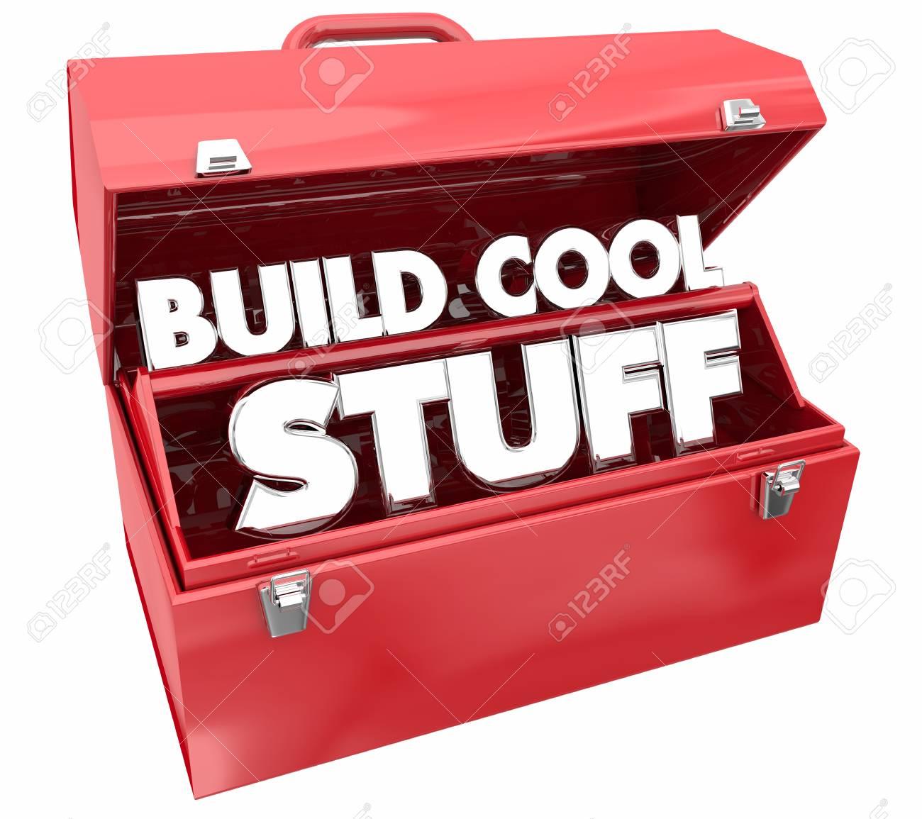 Build Cool Stuff Toolbox Words Make Invent 3d Illustration Stock ...
