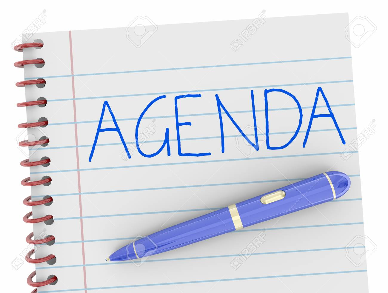 agenda pen writing word notebook plan 3d illustration stock photo