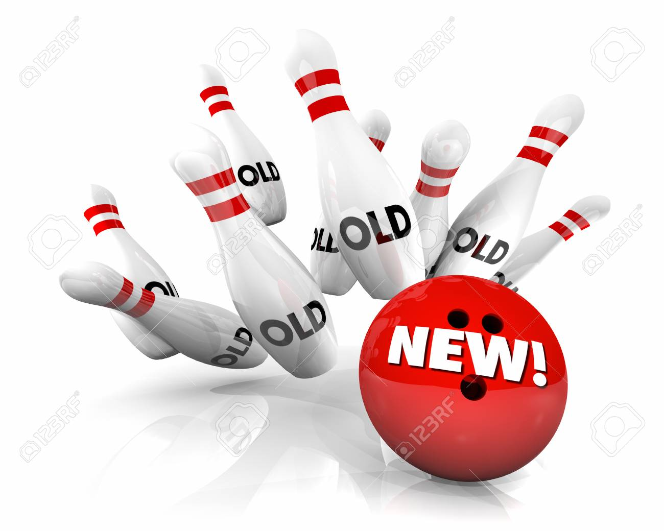 New Vs Old Bowling Ball Strike Pins 3d Illustration Stock Photo