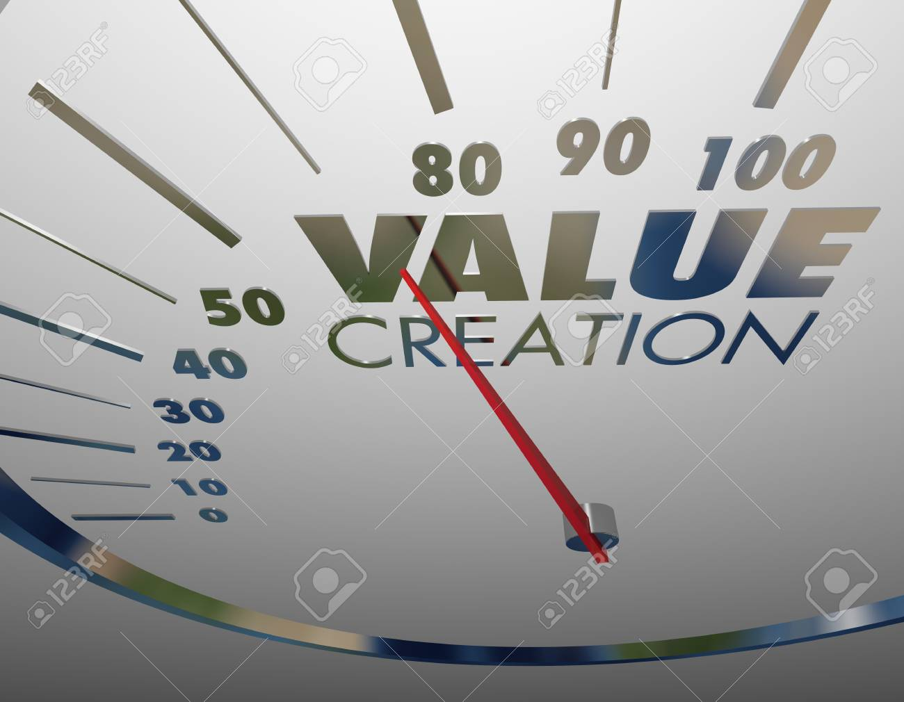 Value Creation Speedometer Level Rate Valuable Content Assets 3d Illustration - 97904442
