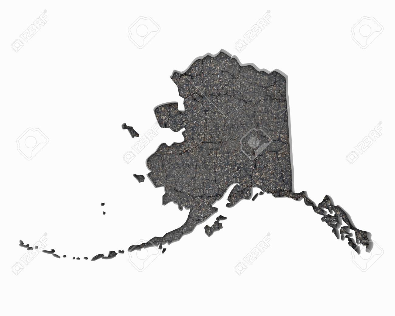 Alaska AK Road Map Pavement Construction Infrastructure 3d ...
