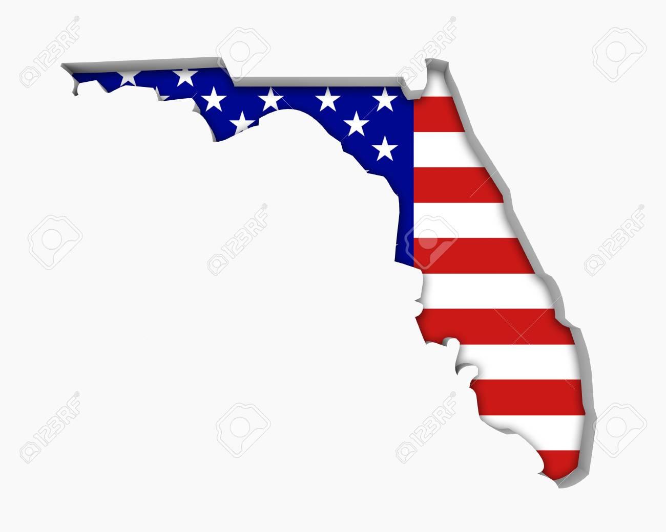 Map Of Usa Florida.Stock Illustration