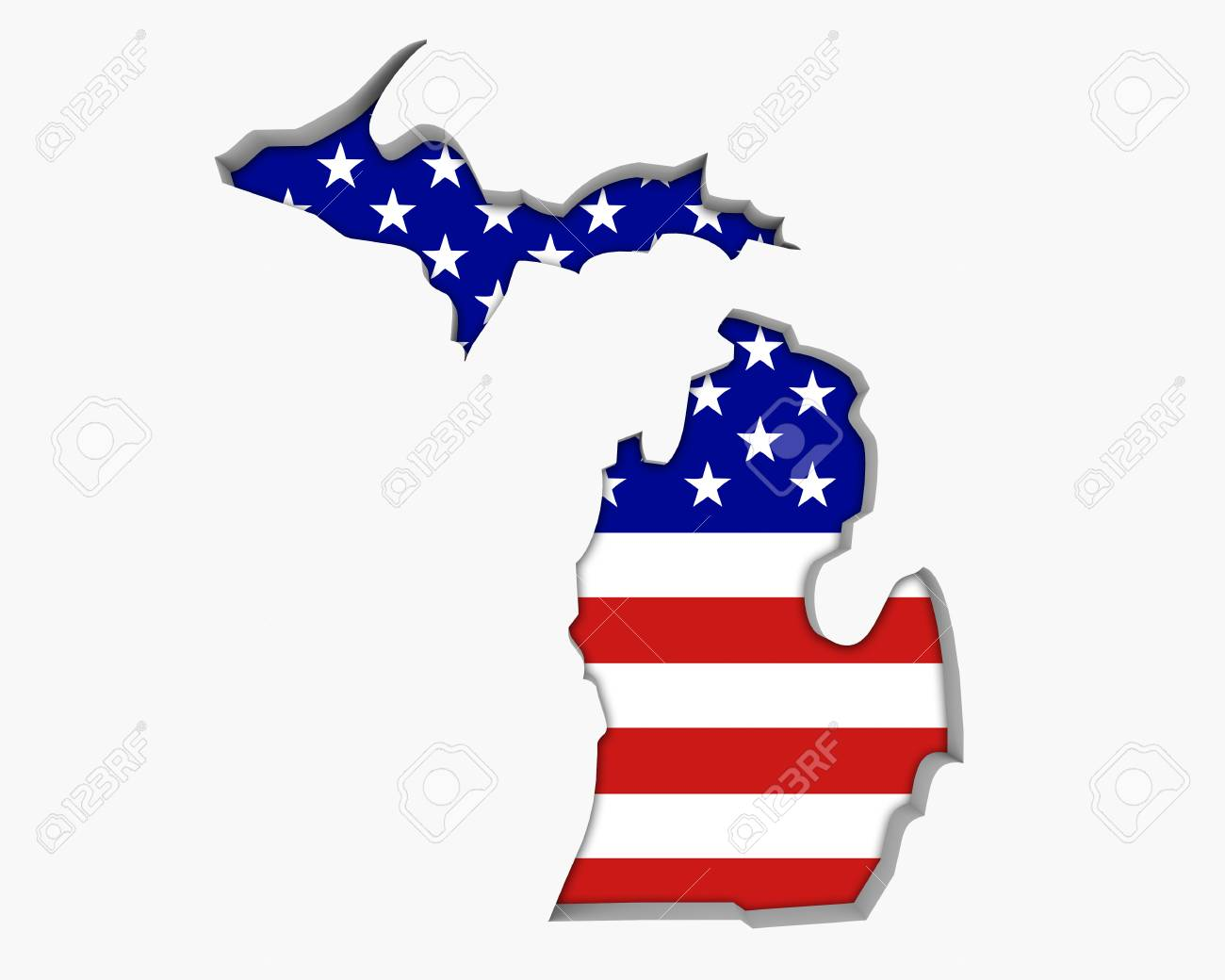 Michigan On Usa Map.Michigan Mi Usa Flag Stars Stripes Map 3d Illustration Stock Photo