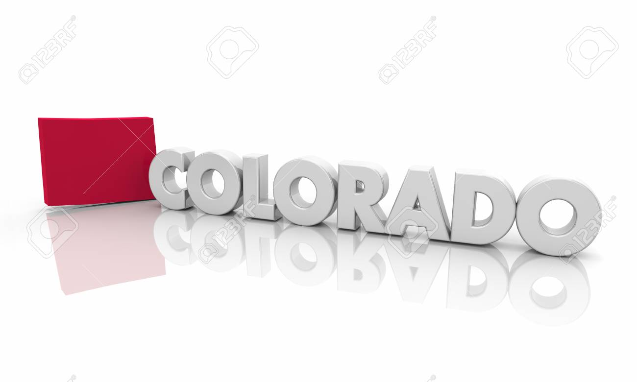 colorado co red state map word 3d illustration ロイヤリティーフリー