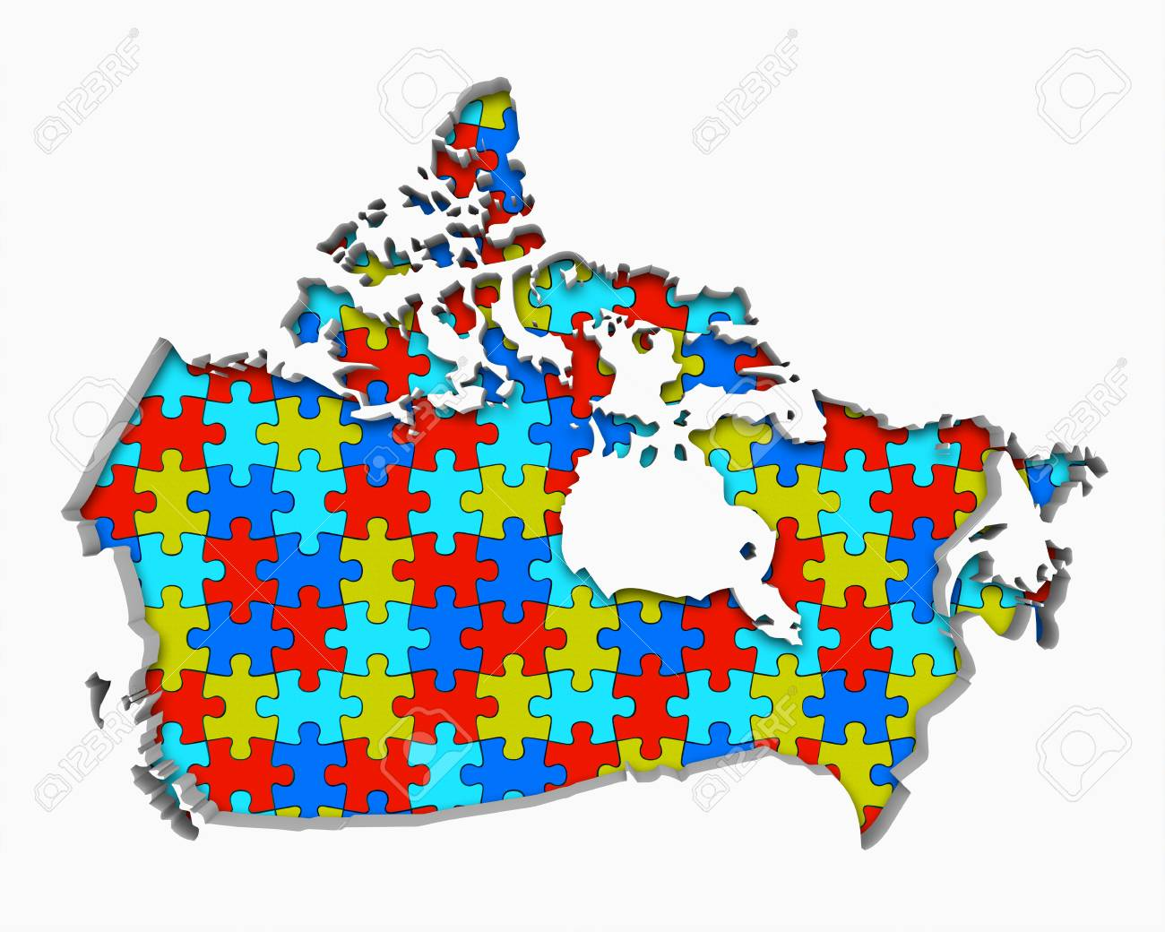 Map Of Canada Puzzle.Stock Illustration