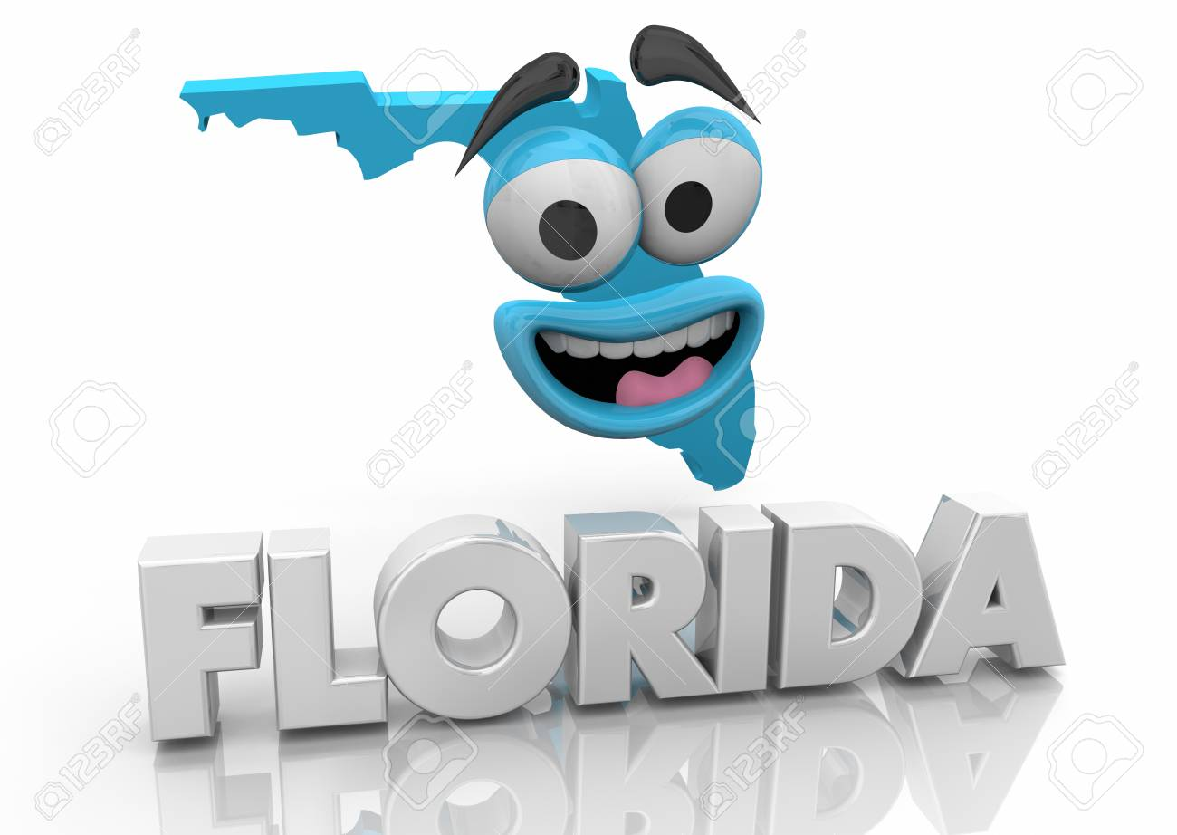 Florida Fl State Map Cartoon Face Word 3d Illustration Stock Photo
