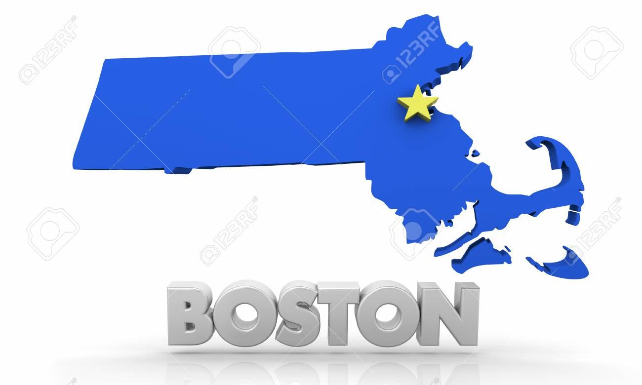 Boston Ma Massachusetts City Map 3d Illustration Stock Photo