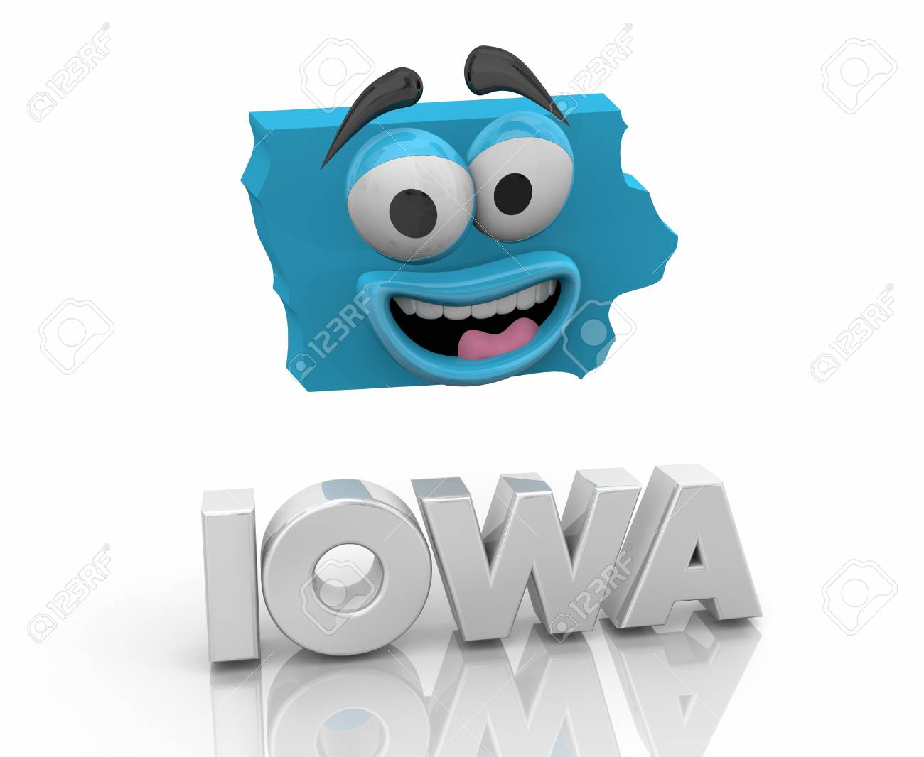Iowa Ia State Map Cartoon Face Word 3d Illustration Stock Photo