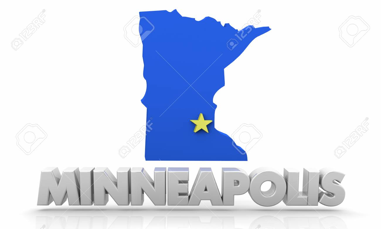 Minneapolis MN Minnesota City Map 3d Illustration Lizenzfreie Fotos ...