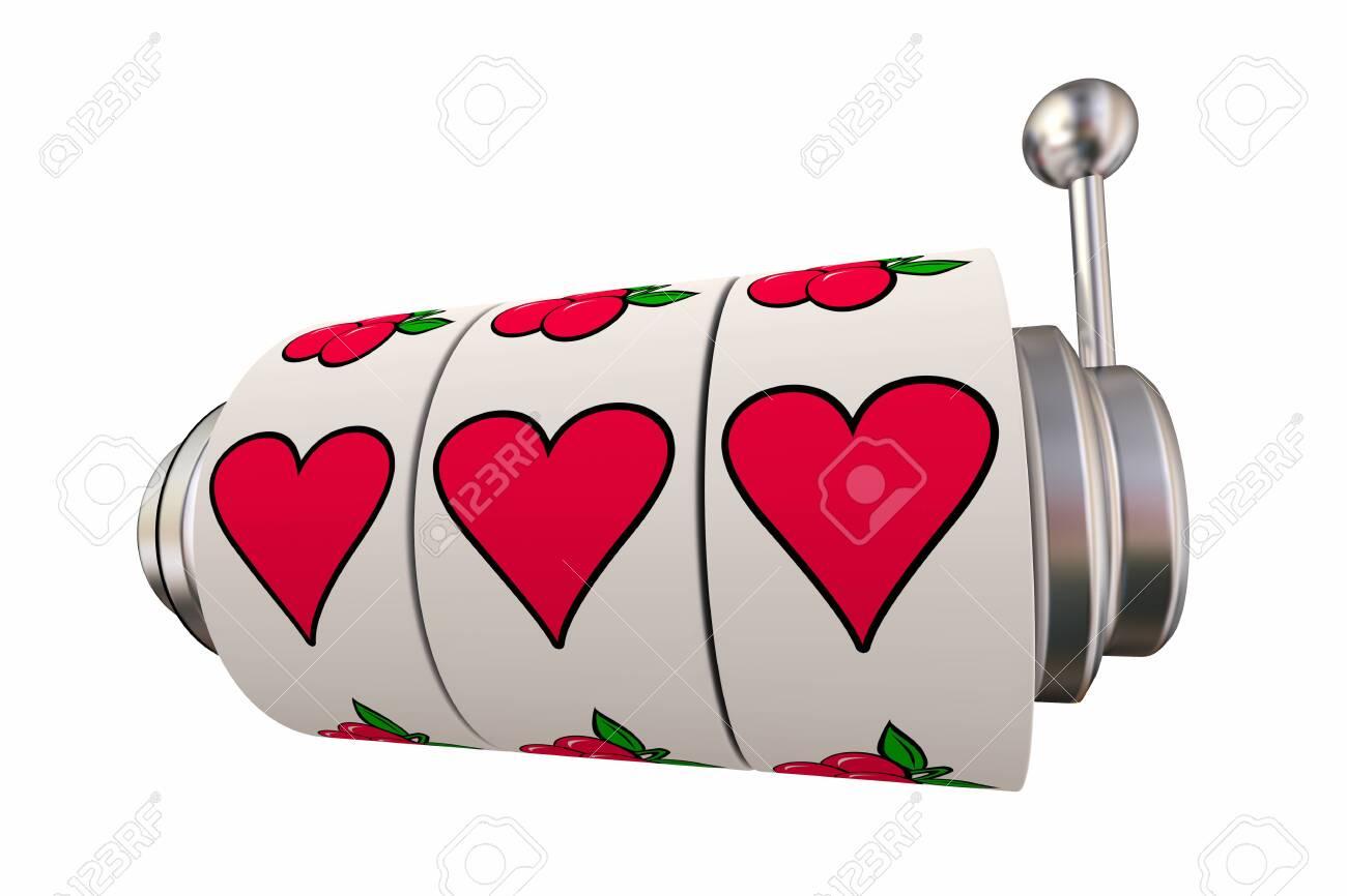 Lucky in Love Gambling on Romance Slot Machine Hearts 3d Illustration - 129655200