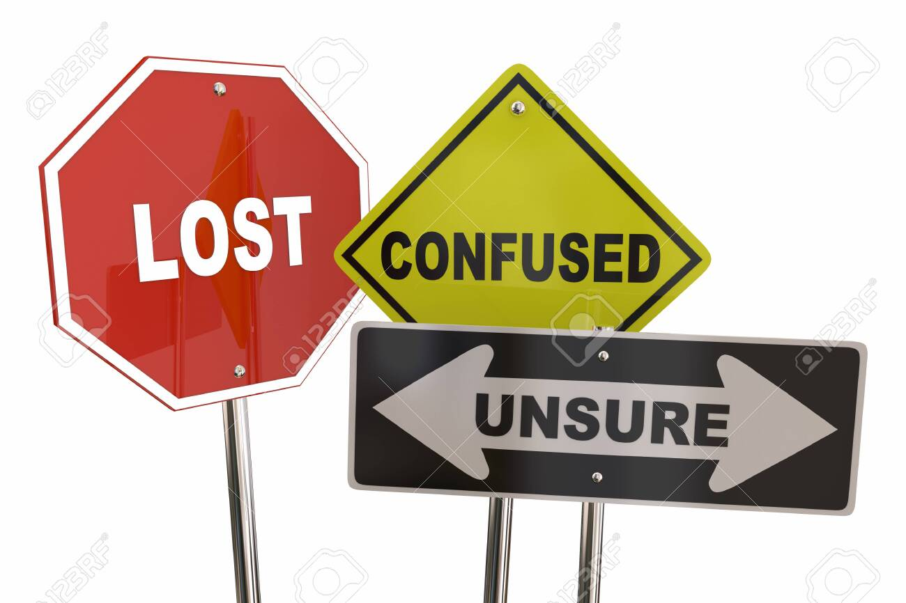 Lost Confused Unsure Uncertainty Road Signs 3d Illustration - 136145429