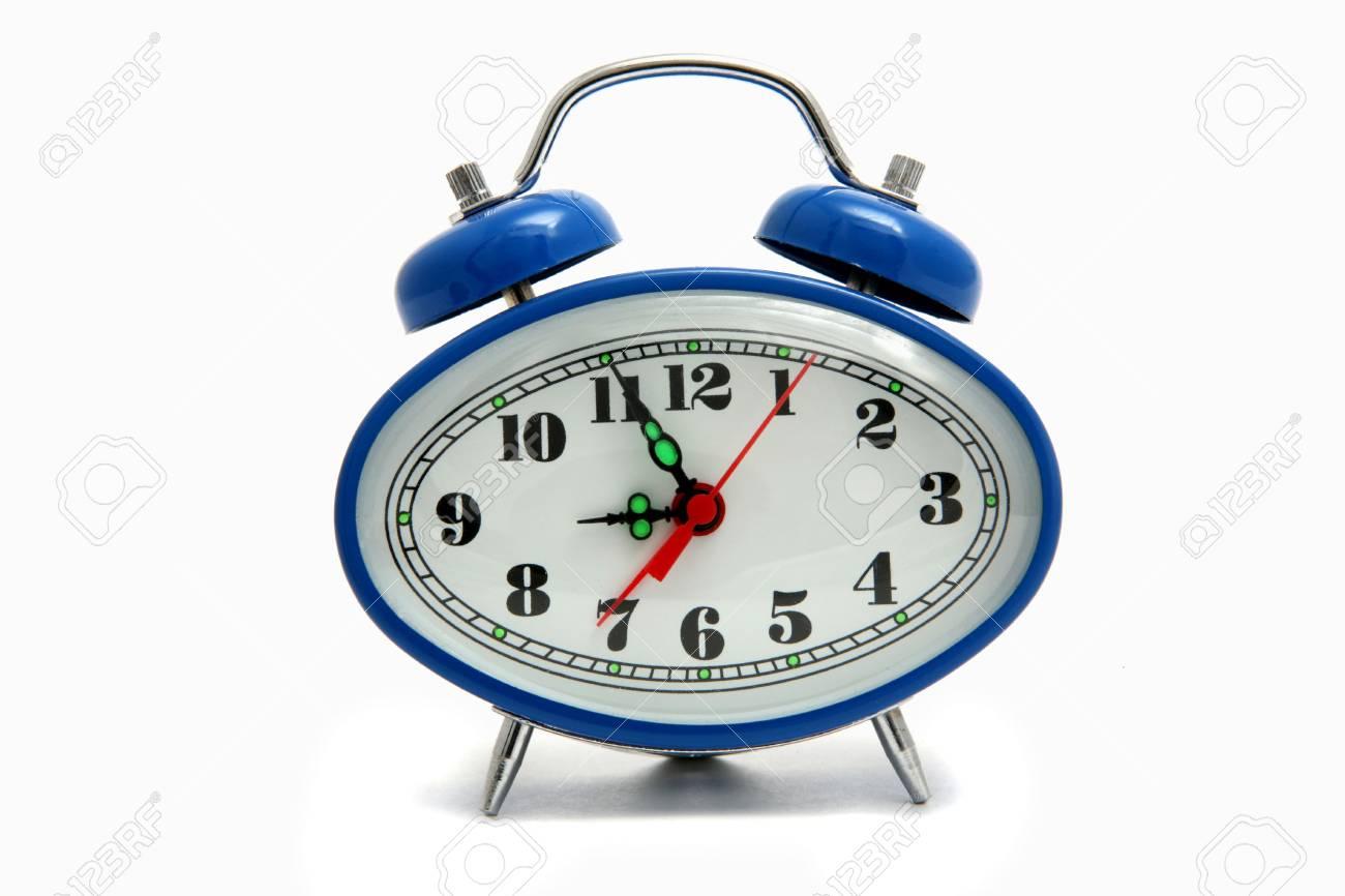 Blue alarm clock isolated on white Stock Photo - 4457582
