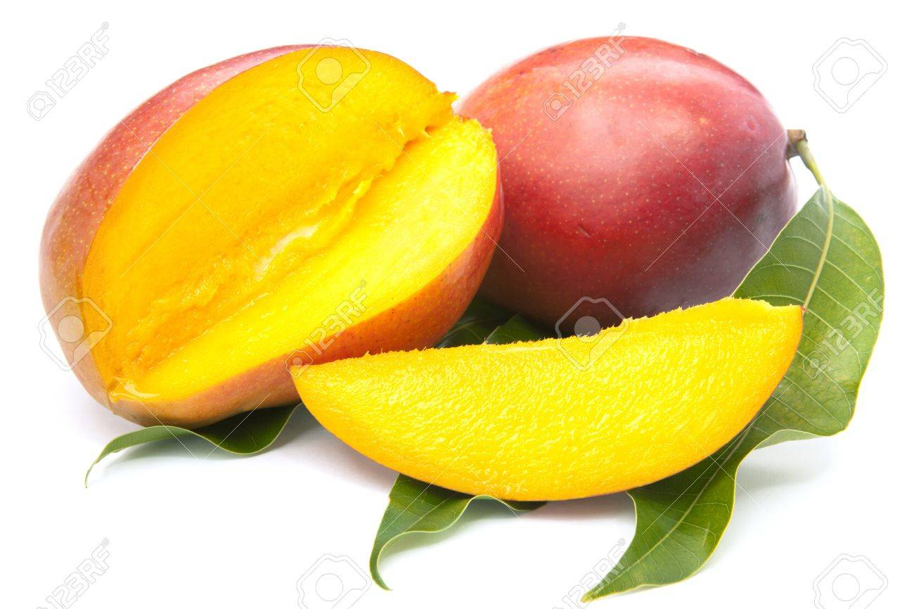 Fresh Mango Fruit With Cut And Real Mango Leafs Isolated On White ...