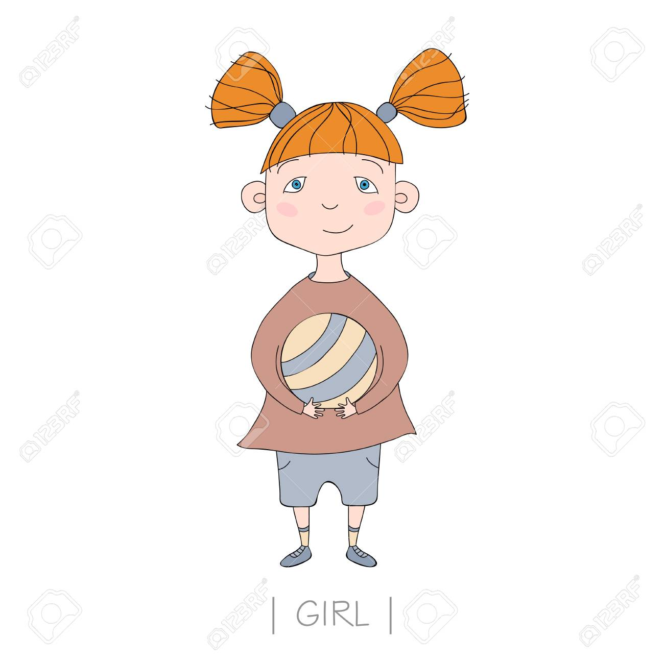 Illustration with cute girl holding a ball. Vector nice little girl Stock  Vector - 93081153 ff50b0db1494a