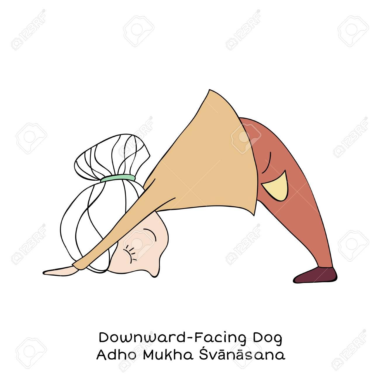 Downward Dog Yoga Cartoon