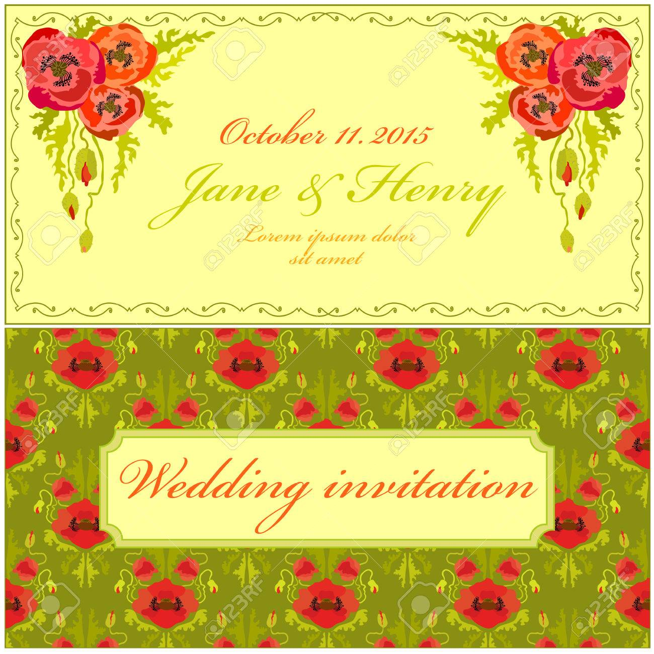 yellow green and red poppy flower wedding invitation vintage