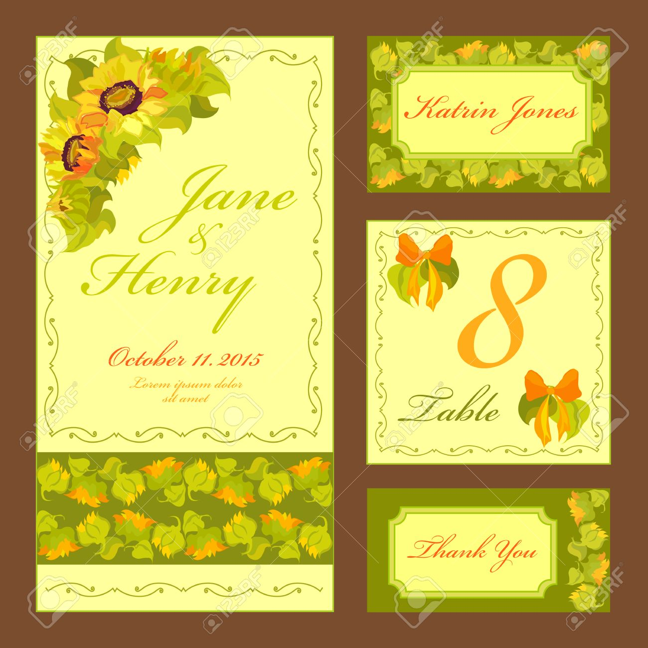 Set Printable Backgrounds To Celebrate The Wedding. Invitation ...
