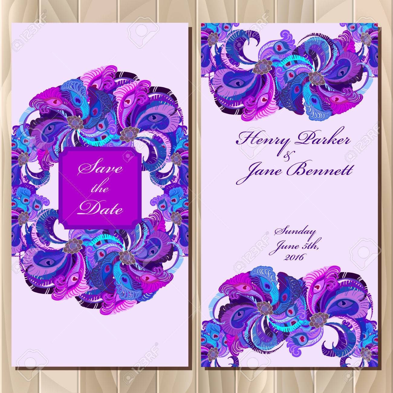 Wedding Invitation Card With Peacock Feathers Printable Backgrounds