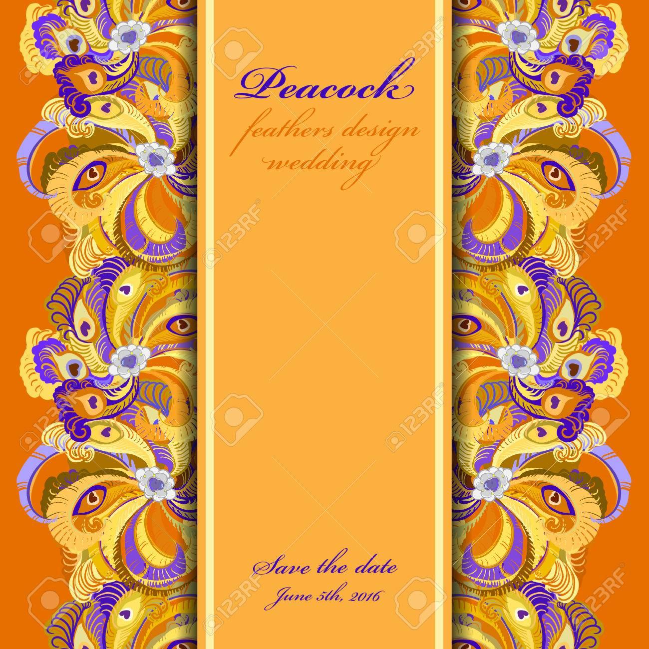 Background image vertical center - Orange Peacock Feathers Pattern Background Vertical Center Border Design Text Place Vintage