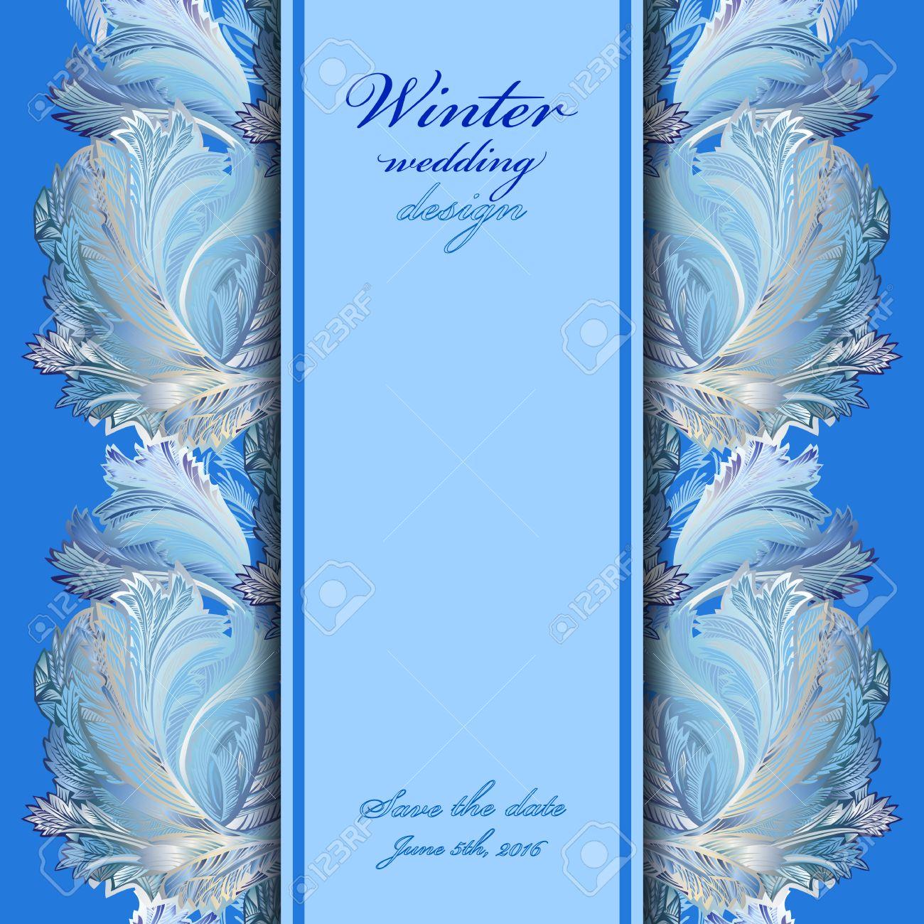 Background image vertical center - Winter Frozen Glass Background Vertical Center Border Design Text Place Vintage Illustration