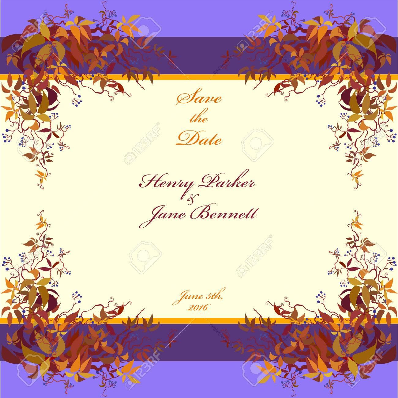 Hochzeit-Rahmen. Vektor-Hintergrund Mit Herbst Wildem Wein Zweige ...