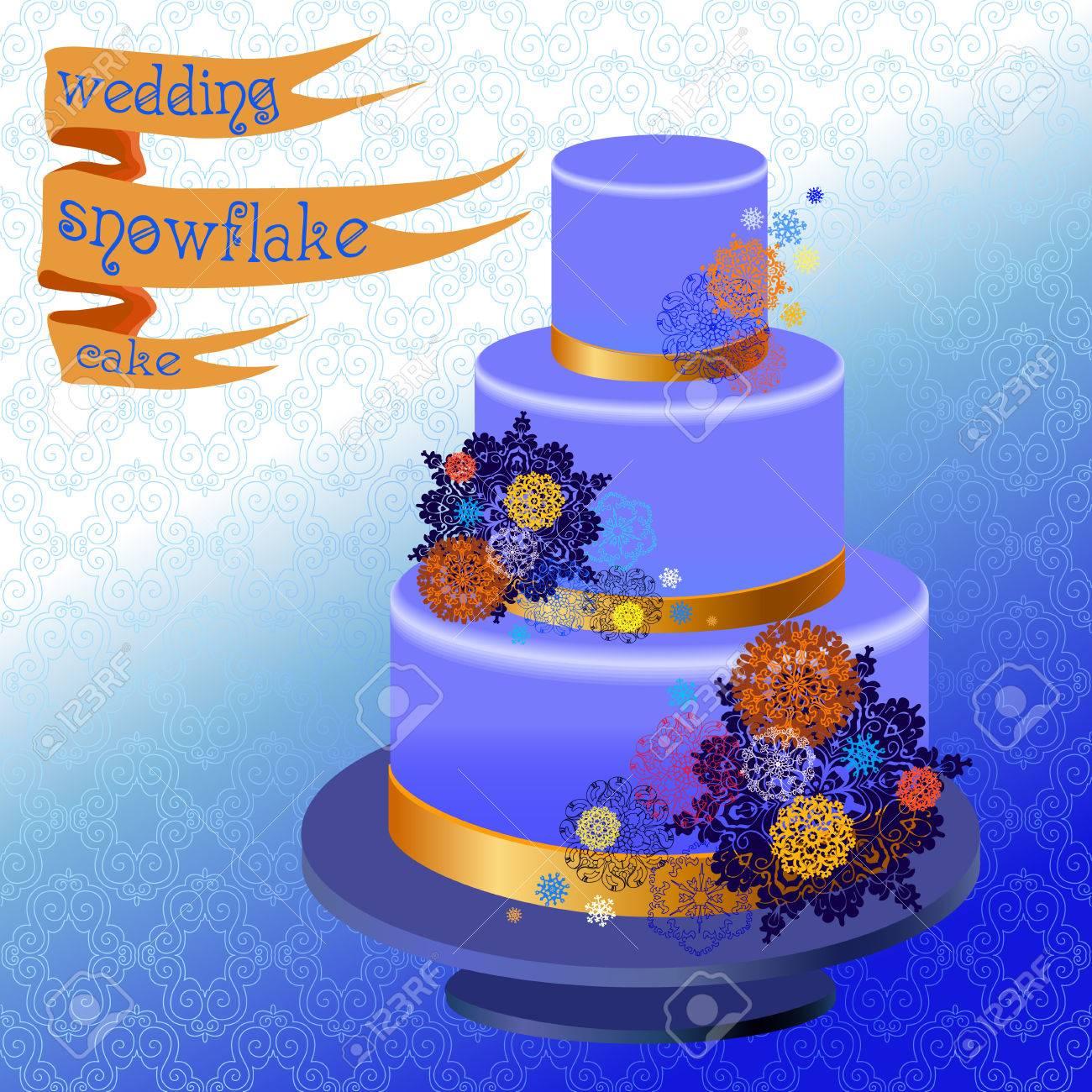 Hochzeitstorte Mit Winter Schneeflocken Und Sternen Winterhoch Blau