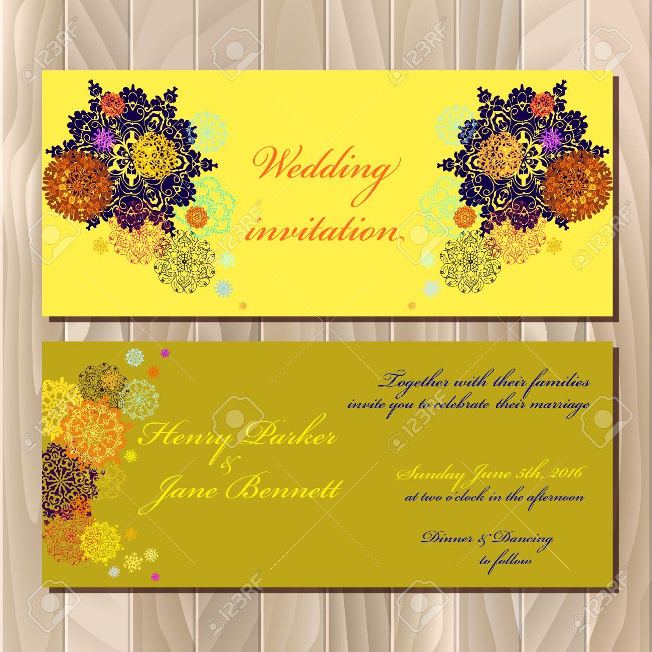 Snowflakes Wedding Invitation Card. Pistachio, Khaki, Gold, Orange ...
