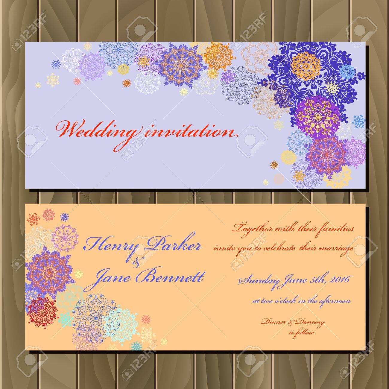 Wedding snowflakes invitation card with violet pink gold blue vector wedding snowflakes invitation card with violet pink gold blue and white snowflakes and stars and violet and peach background stopboris Choice Image