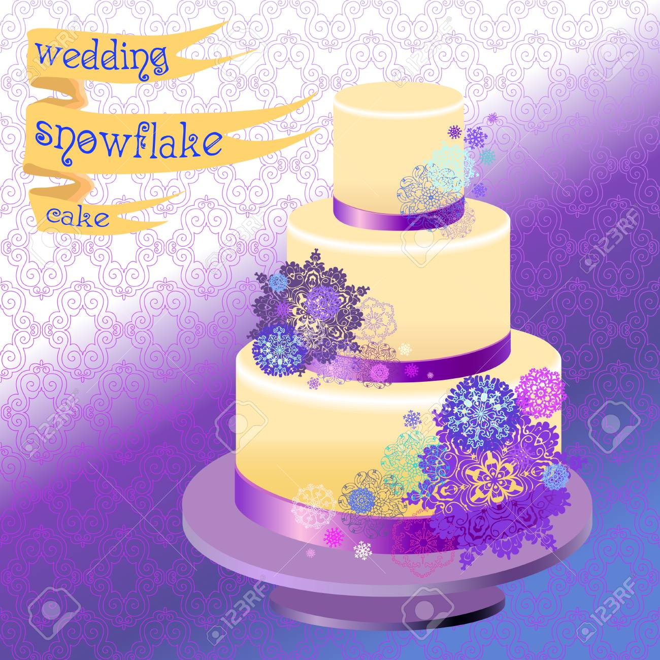 Wedding Cake With Winter Snowflakes And Stars. Blue Violet Snowflake ...