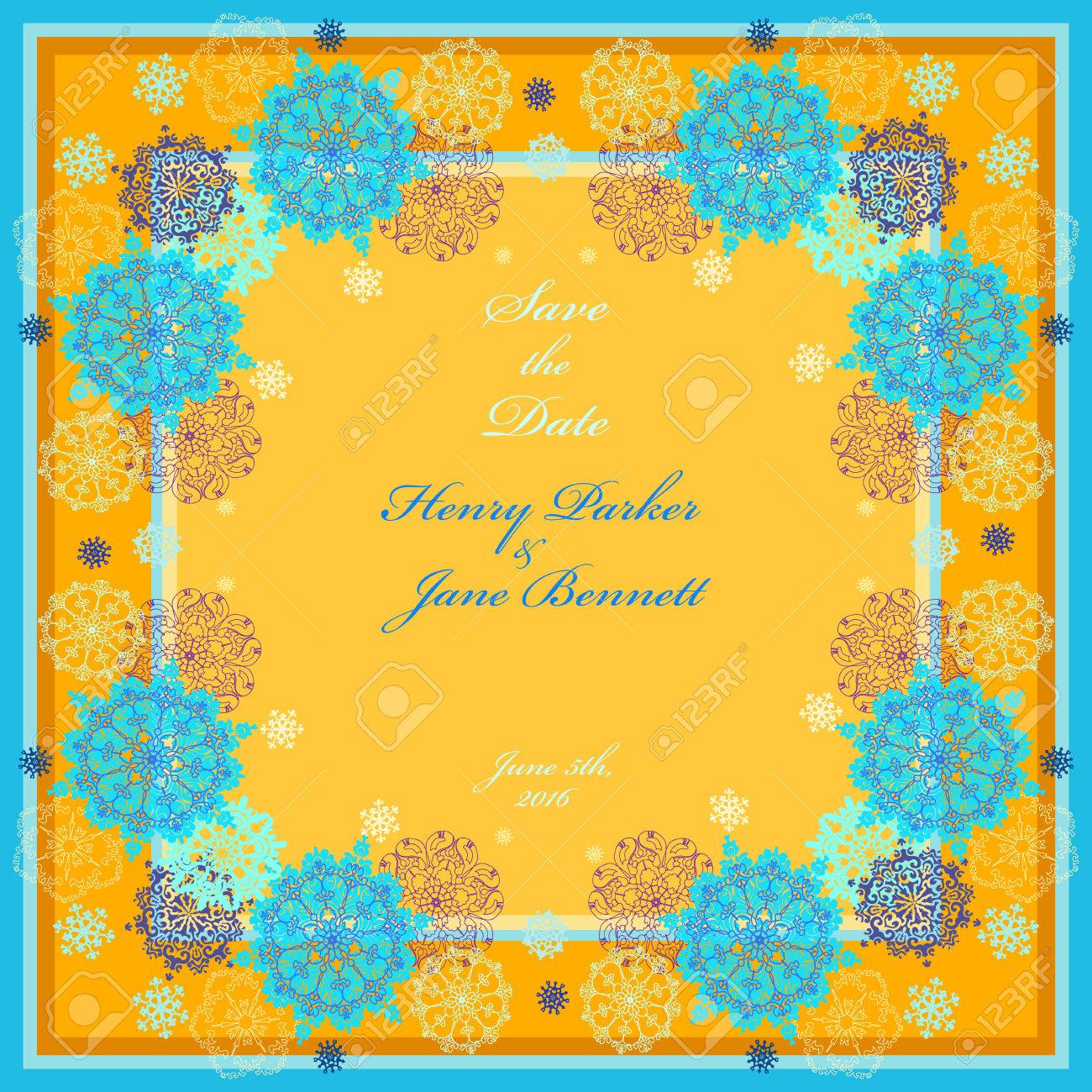 Winter wedding frame with yellow, cyan, blue and white snowflakes