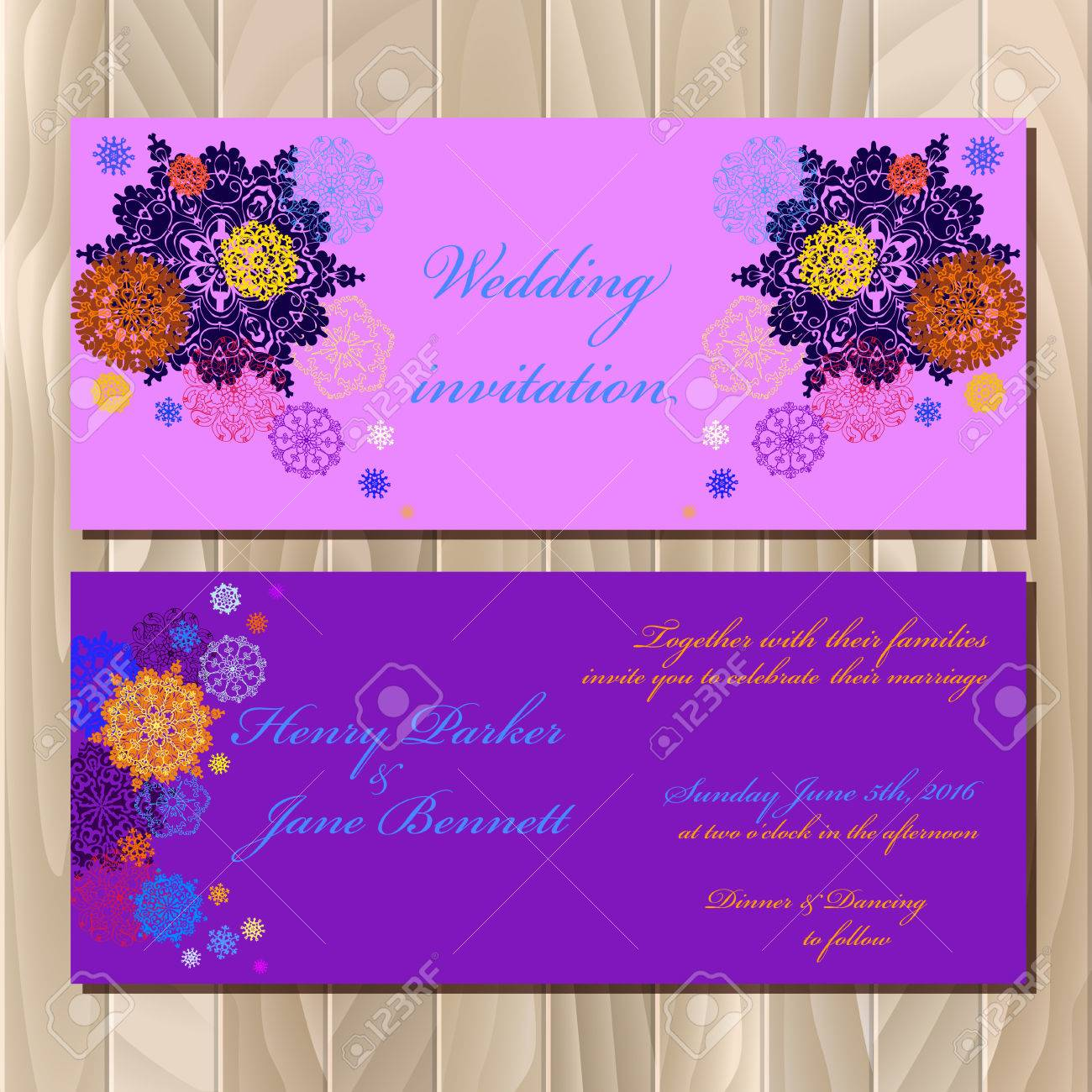 pink wedding invitation card with red gold blue and white