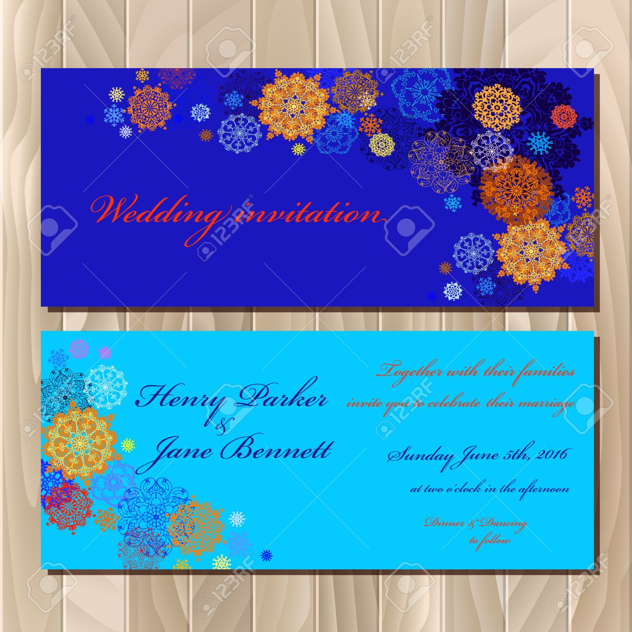 winter printable design set horizontal wedding invitation card