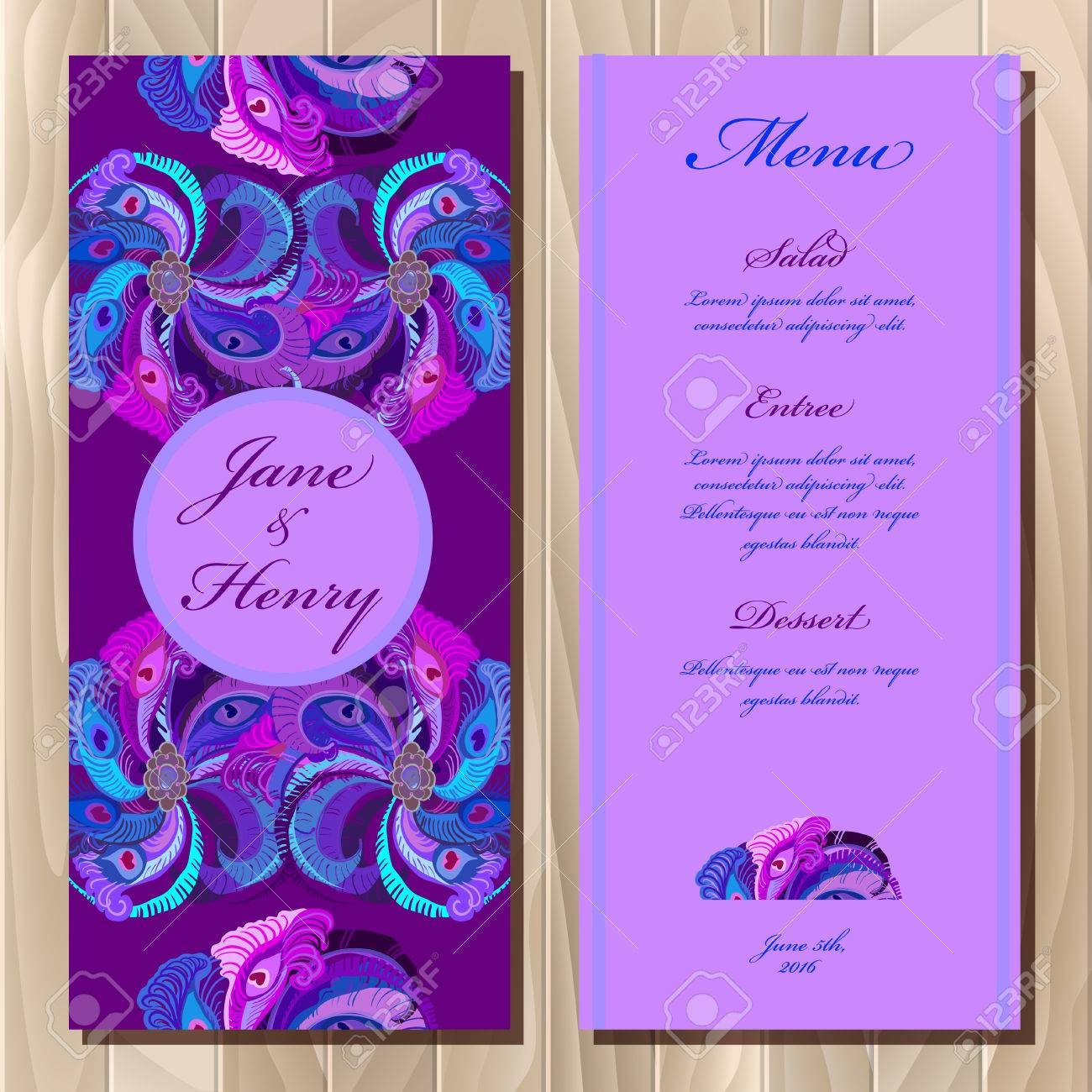image about Printable Backgrounds named Marriage menu card with pea feathers, vector history. Printable..