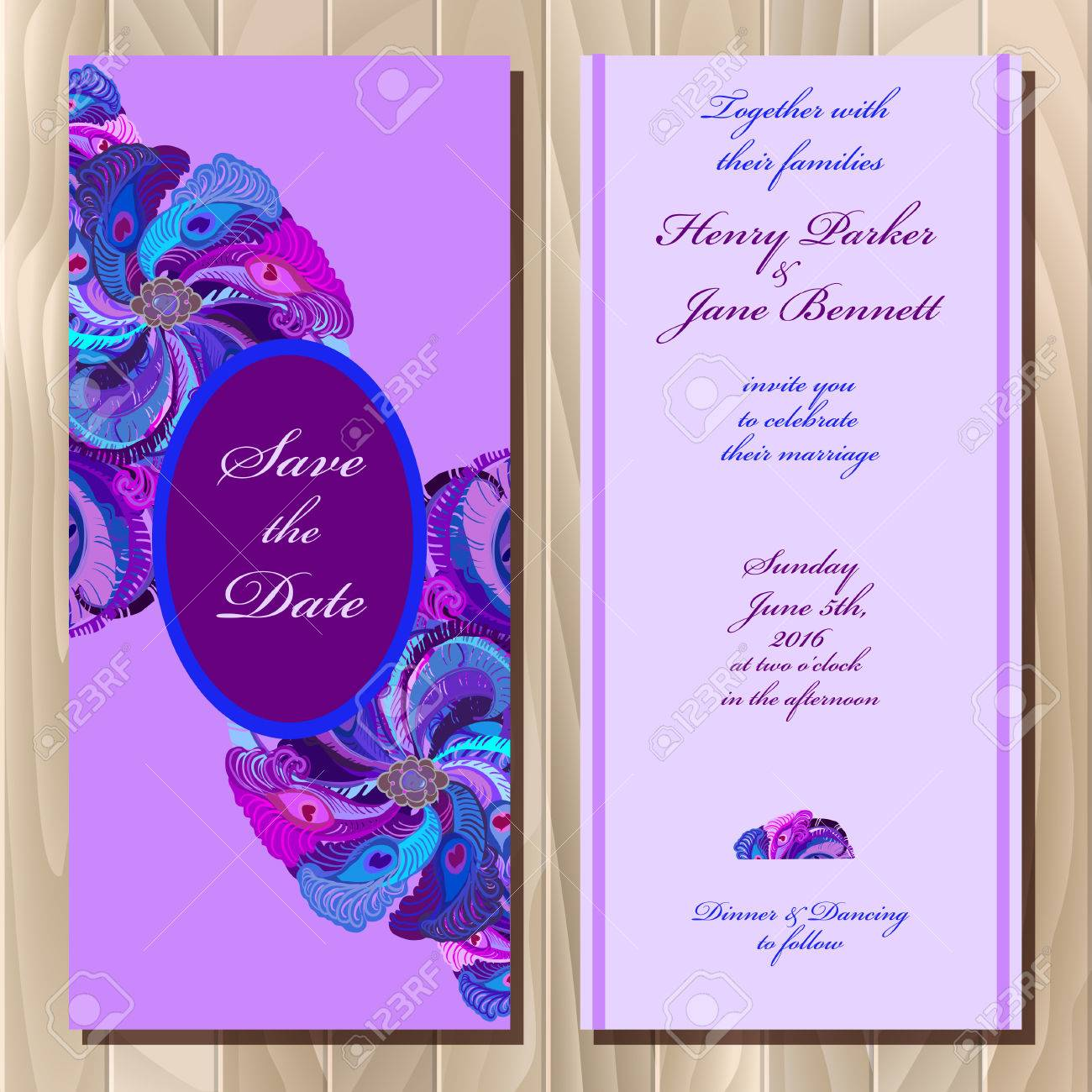 photo relating to Printable Backgrounds named Wedding ceremony invitation card with pea feathers, vector record