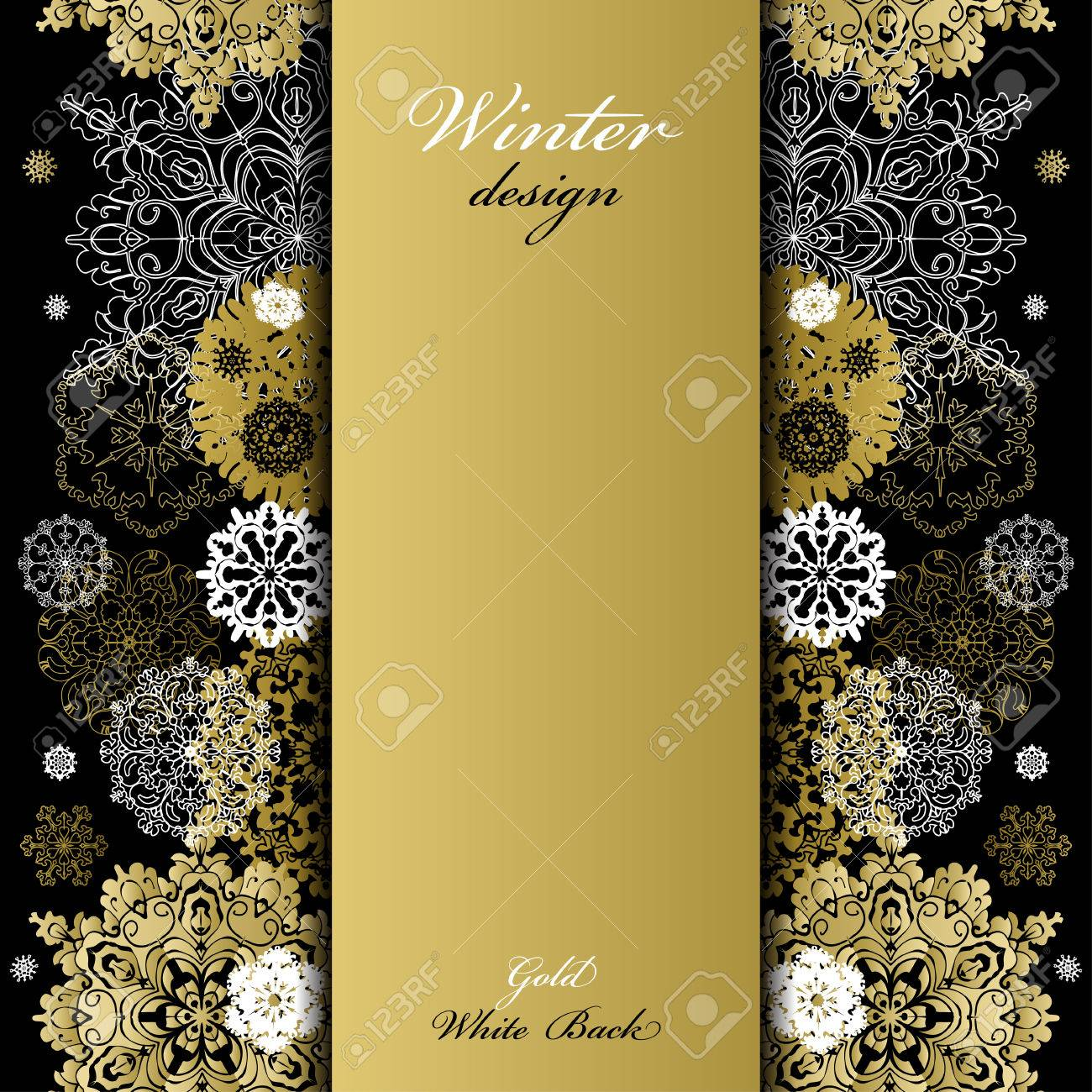 Background image vertical center - Vector Winter Abstract Design With Gold And White Snowflakes And Stars And Black Background Trend Golden Design Vertical Center Border Stripe And Text