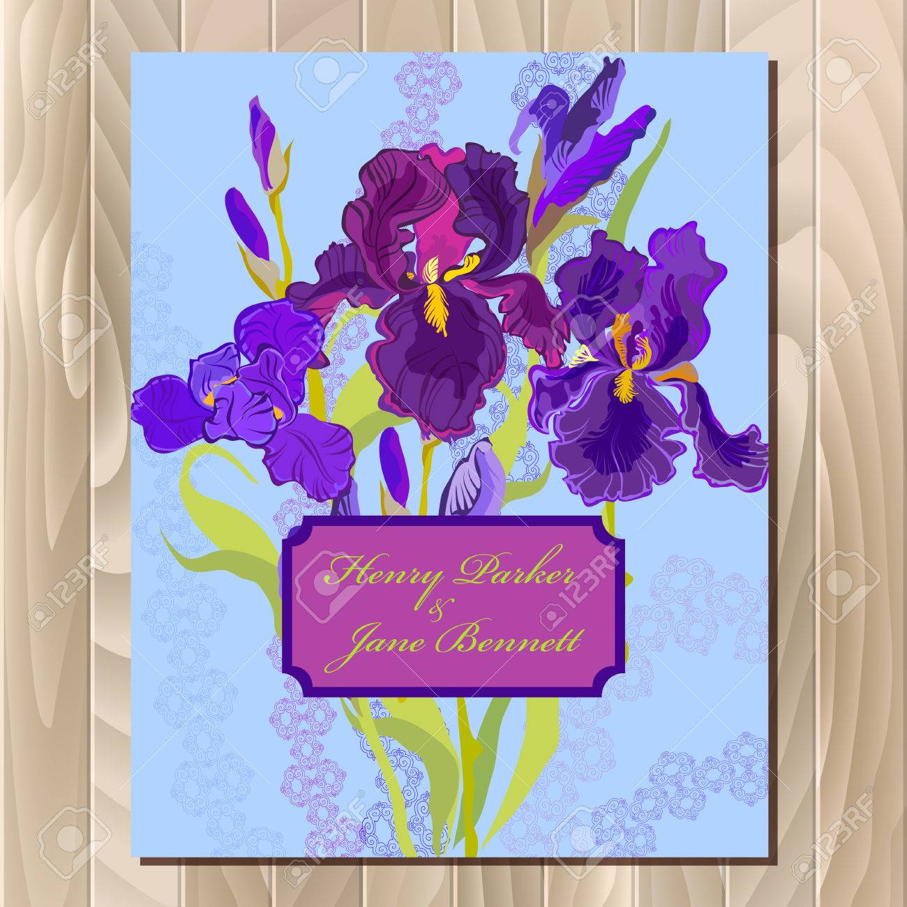 Wedding background with lilac violet purple iris flower background stock fot wedding background with lilac violet purple iris flower background iris bouquet illustration printable vertical design backgrounds set izmirmasajfo