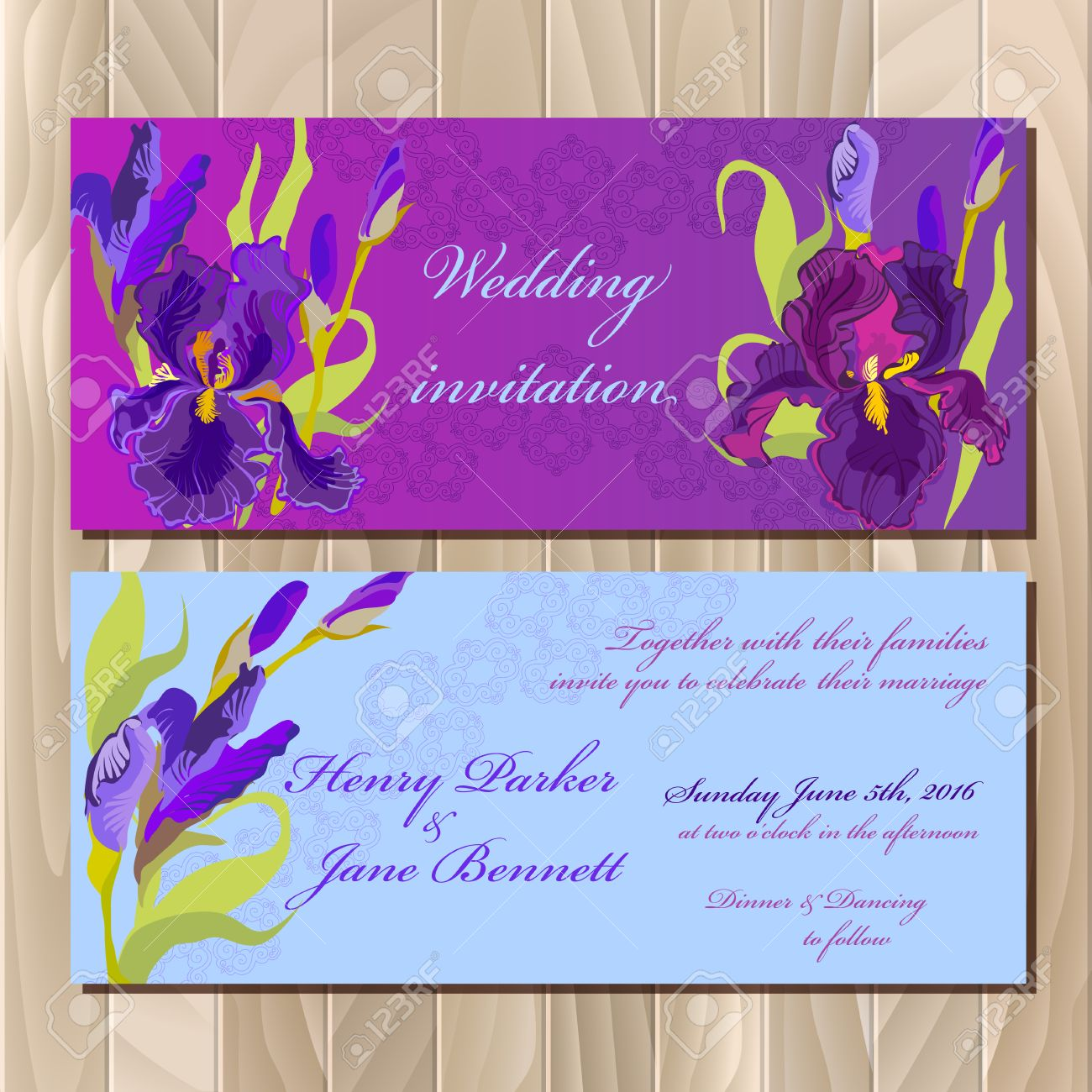 Vector Wedding Invitation Card With Lilac Violet Purple Iris Flower And Lace Background Bouquet Illustration: Purple Wedding Invitation Card At Websimilar.org