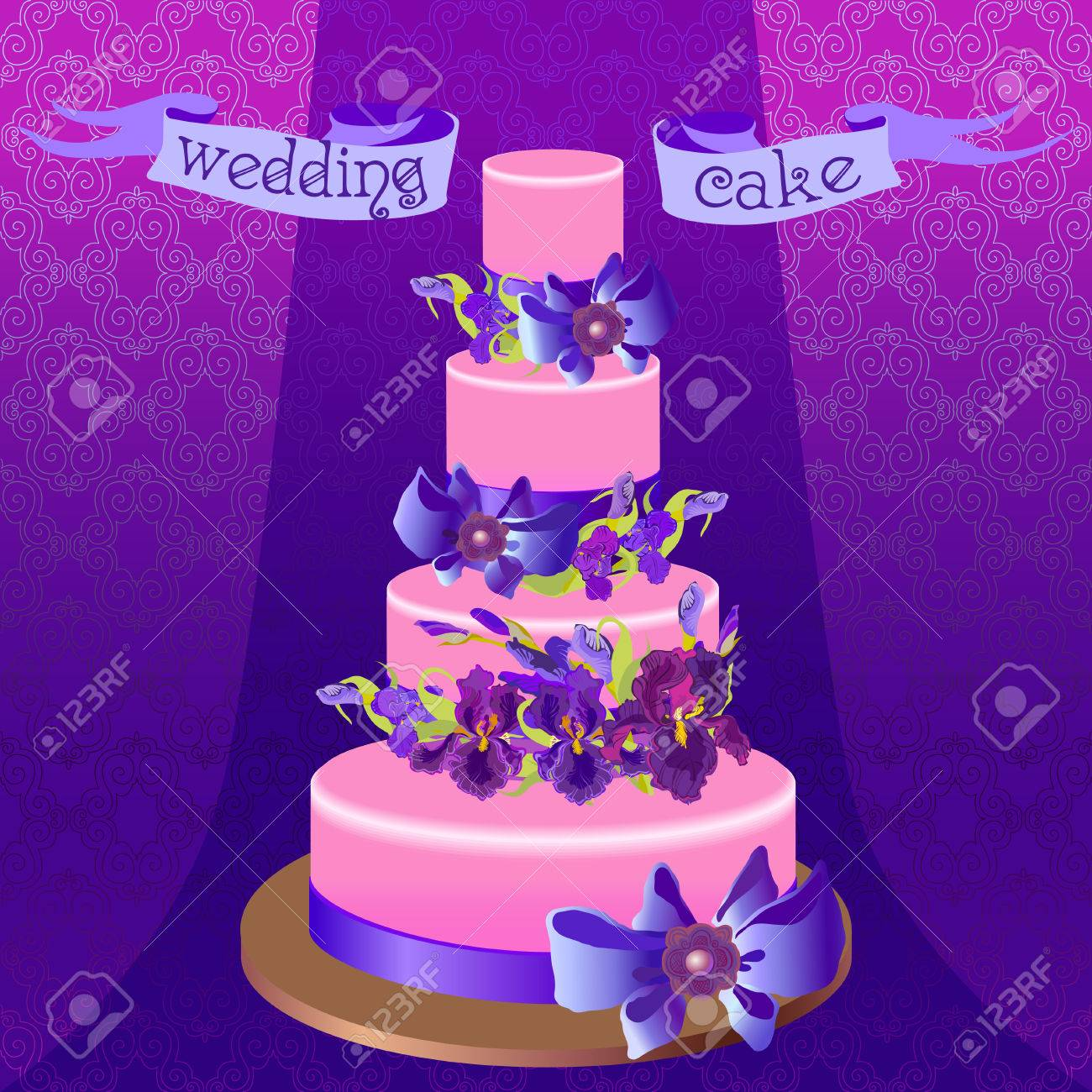 Wedding Cake With Lilac Violet Purple Iris Flowers Beautiful