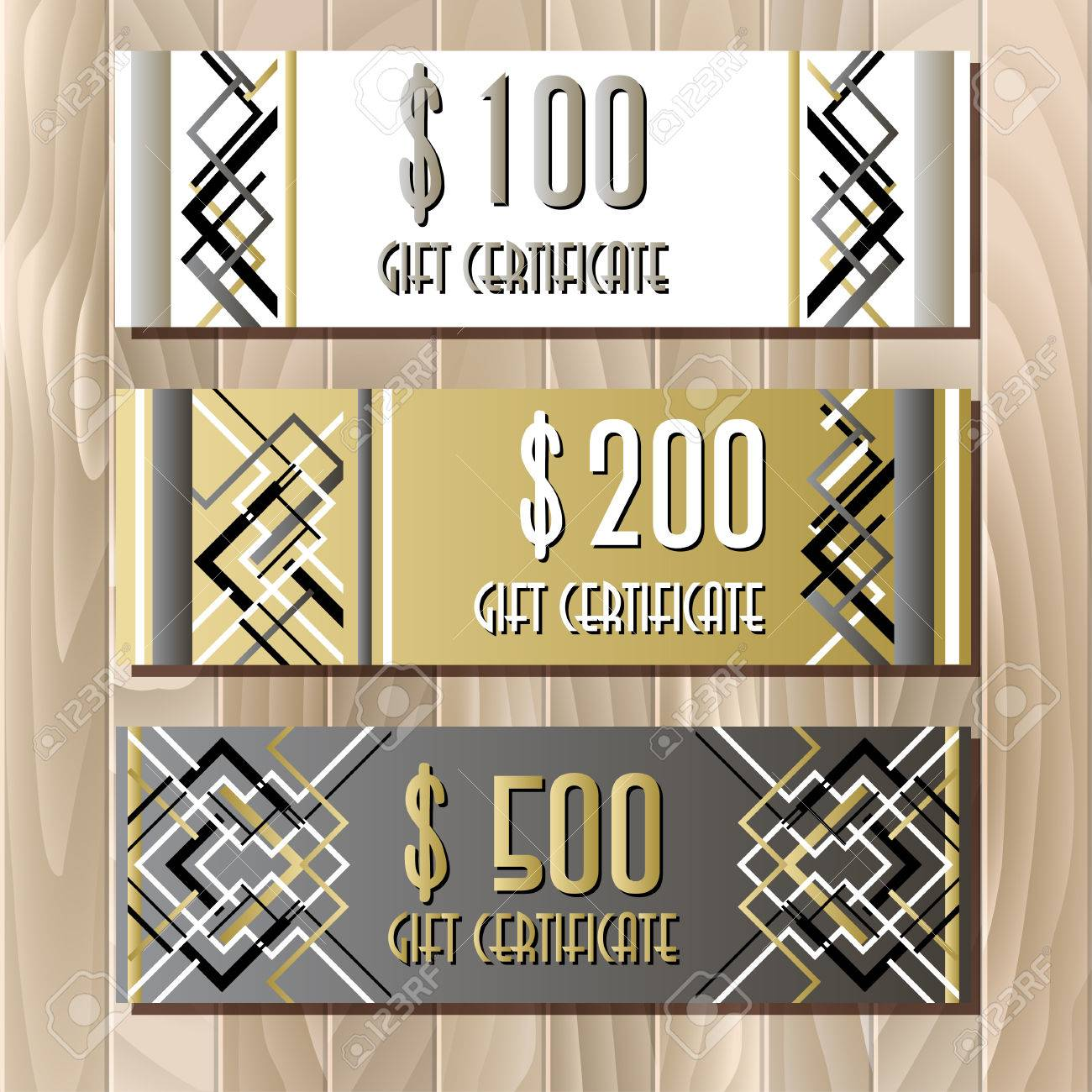Gift certificate card template in art deco outline style holiday gift certificate card template in art deco outline style holiday background mock for banner or yelopaper Images