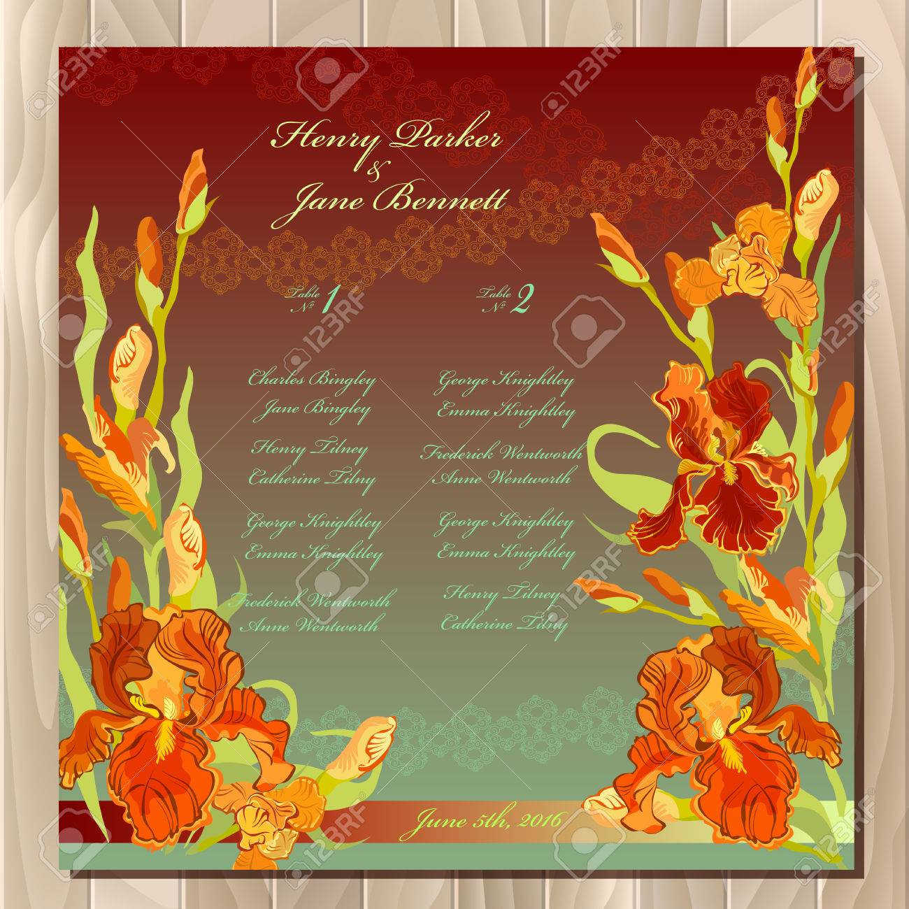 Iris Flower Wedding Guest List For Table Red Iris Flower And