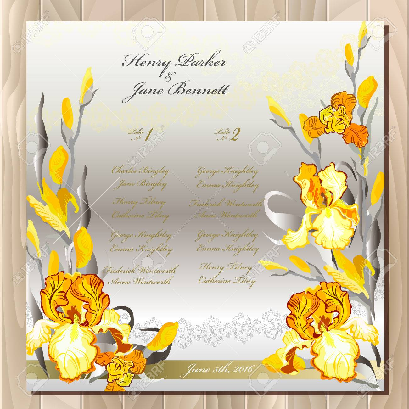 Iris Flower Wedding Guest List For Table Yellow Iris Flowers