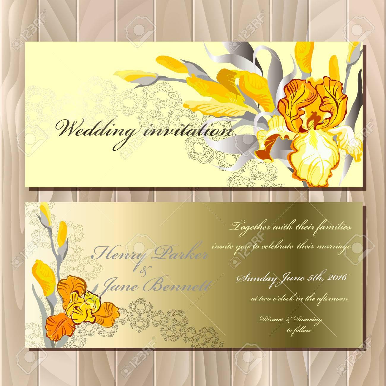 Wedding card with yellow orange golden iris flower bouquet banco de imagens wedding card with yellow orange golden iris flower bouquet background golden yellow iris hand drawn vector illustration izmirmasajfo