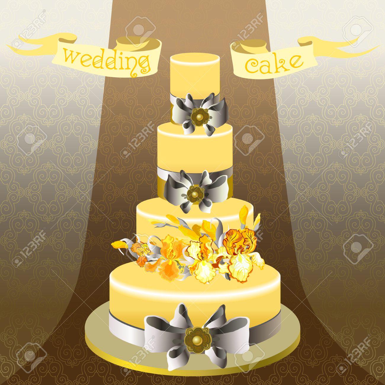 Hochzeitstorte Mit Gold Orange Gelbe Iris Blumen Schone Hochzeit