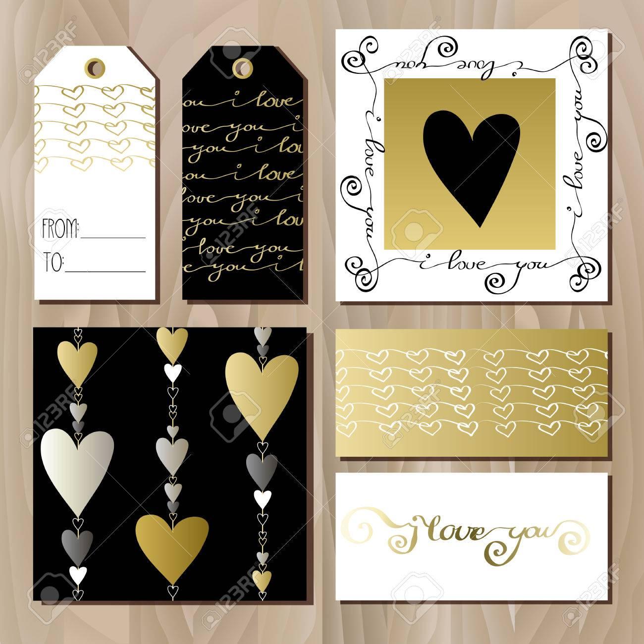 Set Karten Mit Gold Schwarz Und Weiß Valentines Tag Design. Karte ...