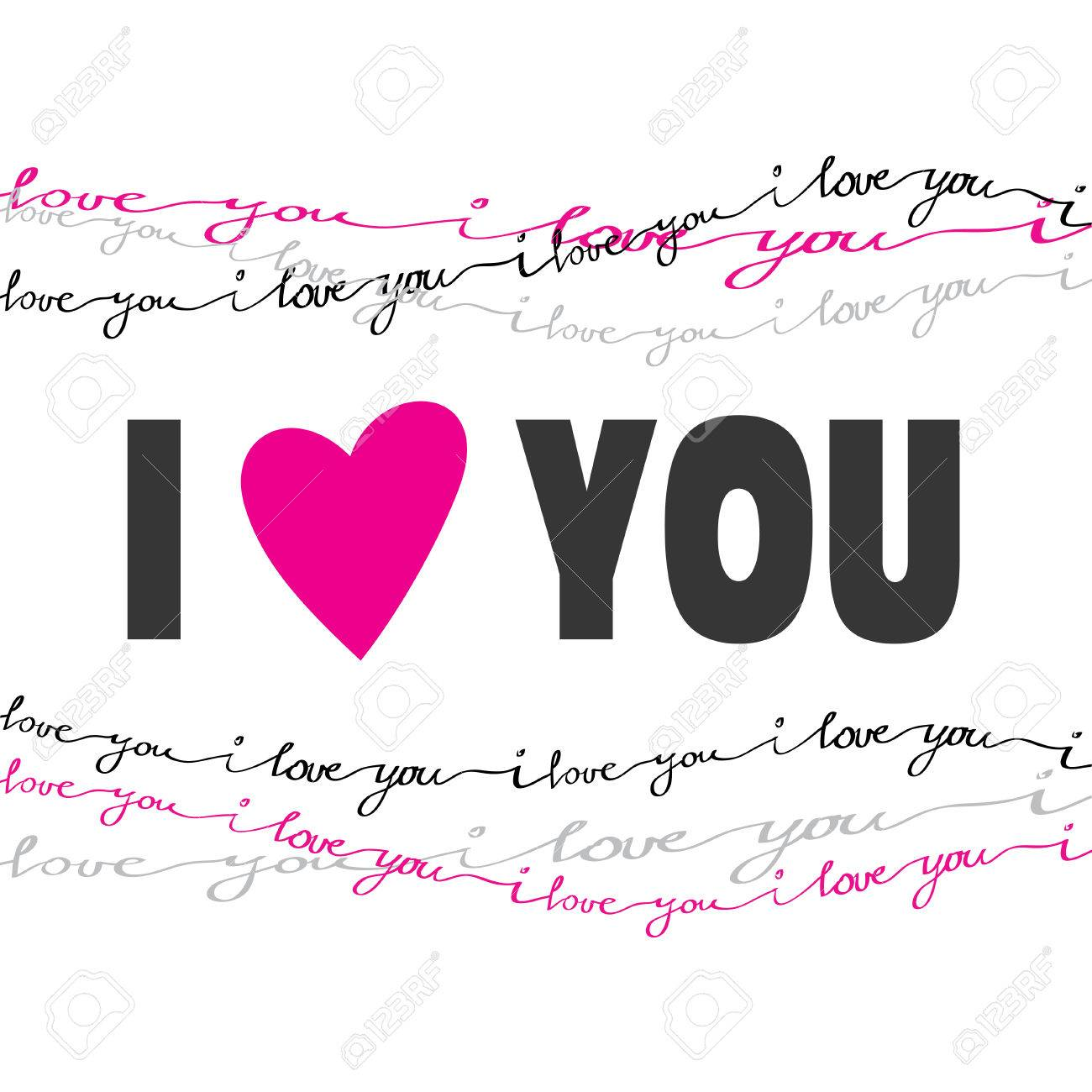 Valentine love card i love you greeting poster pink gray black valentine love card i love you greeting poster pink gray black handwritten i love you text border frame on white background red heart shape i love you m4hsunfo