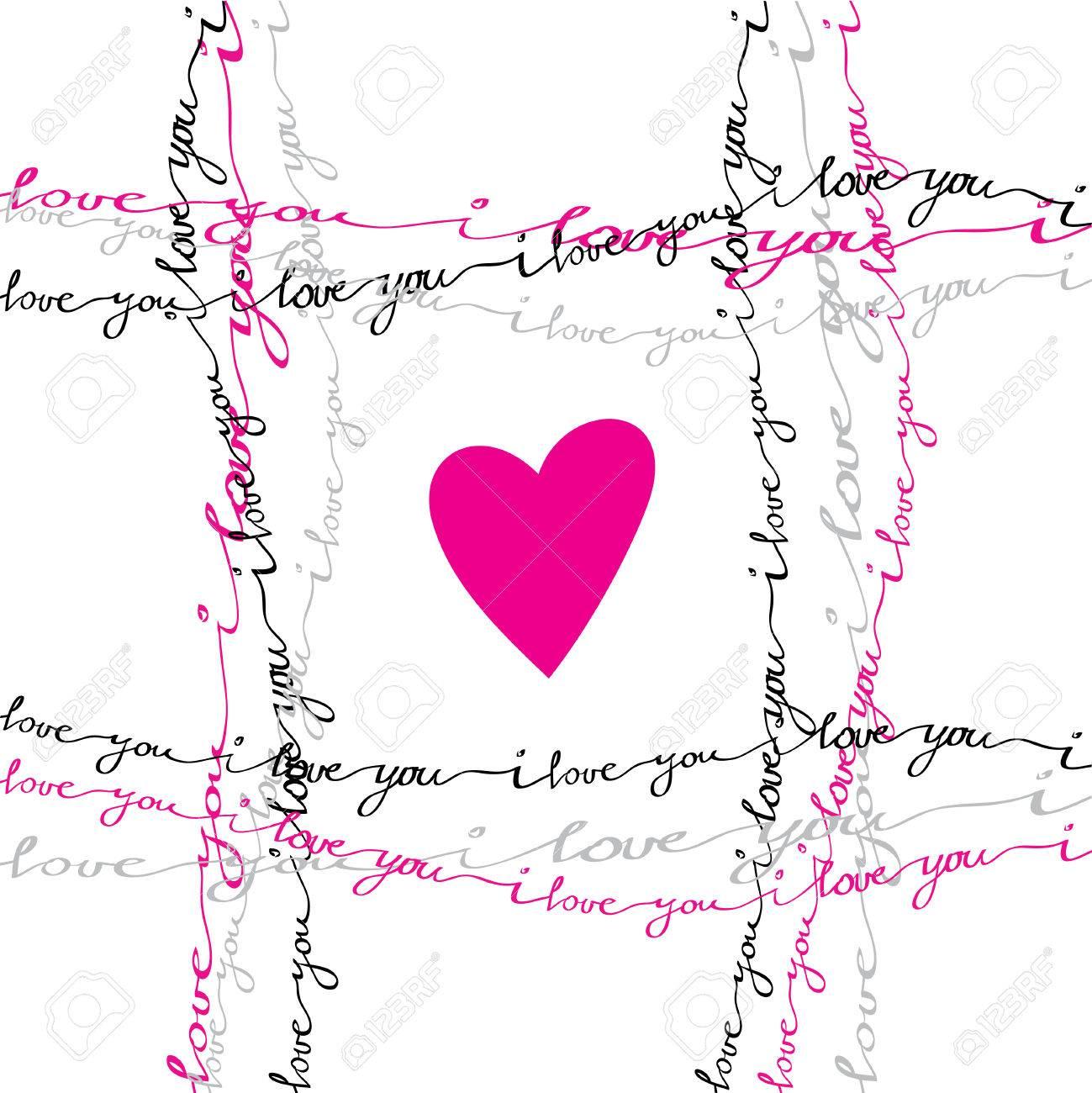 Valentine Lovecard. Ich Liebe Dich Plakat Gruß. Rosa, Grau, Schwarz ...