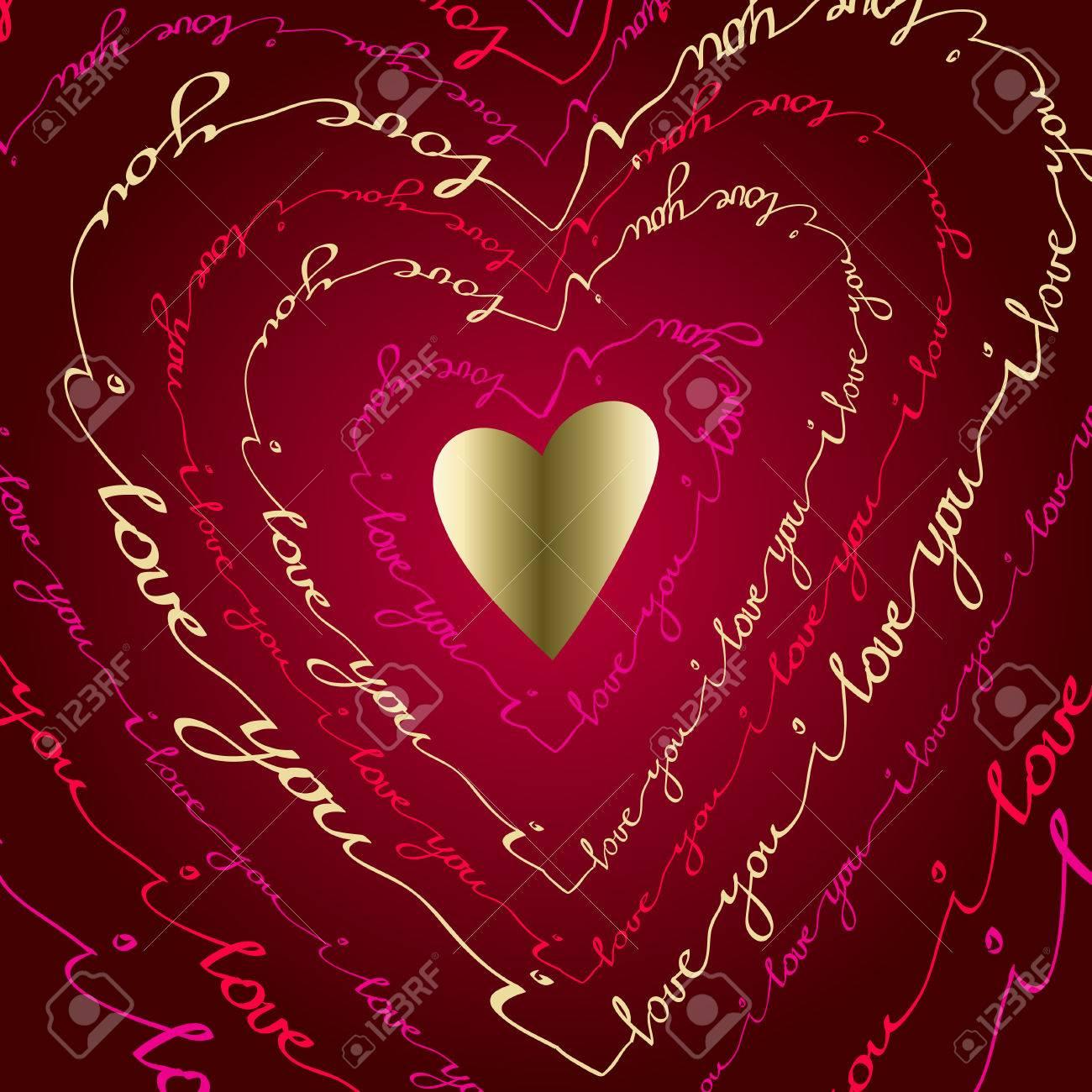 Valentine Lovecard. Ich Liebe Dich Plakat Gruß. Rosa, Rot, Gold ...
